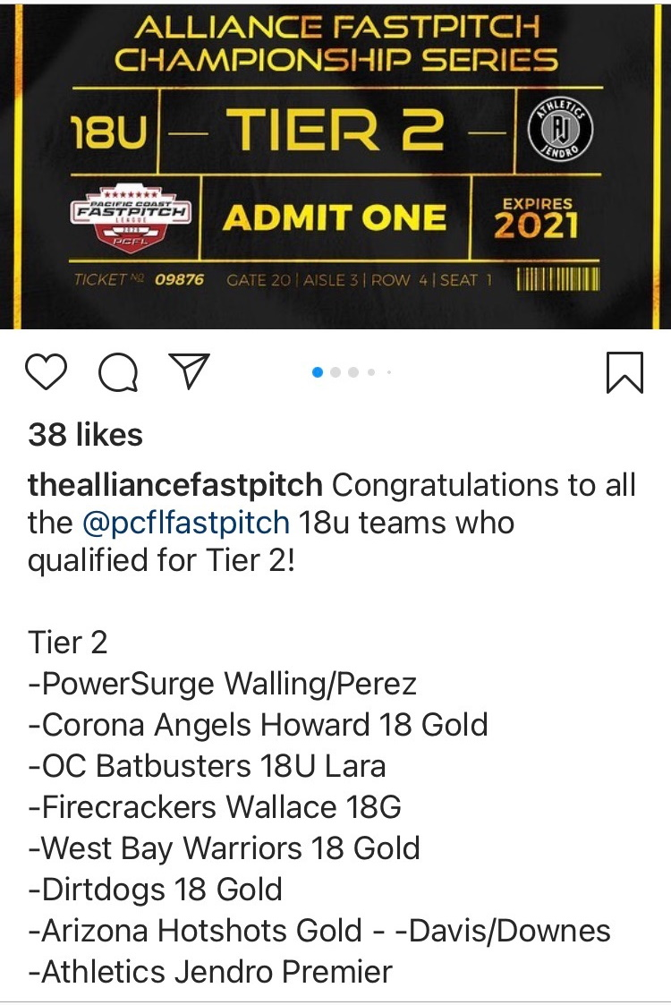 Power Surge 18U Gold Qualifies for Alliance National Championships!